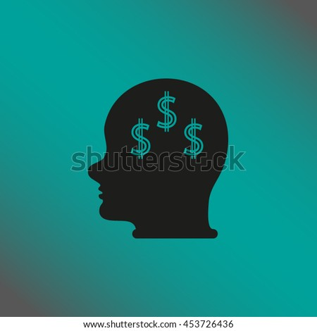Head with dollar symbol - stock vector