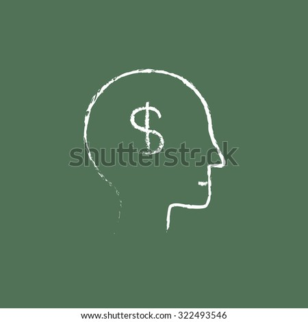 Head with dollar symbol hand drawn in chalk on a blackboard vector white icon isolated on a green background. - stock vector