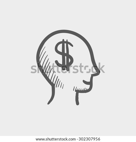 Head with dollar symbol sketch icon for web and mobile. Hand drawn vector dark grey icon on light grey background. - stock vector