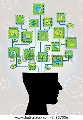 head with ecological technology tree - stock vector