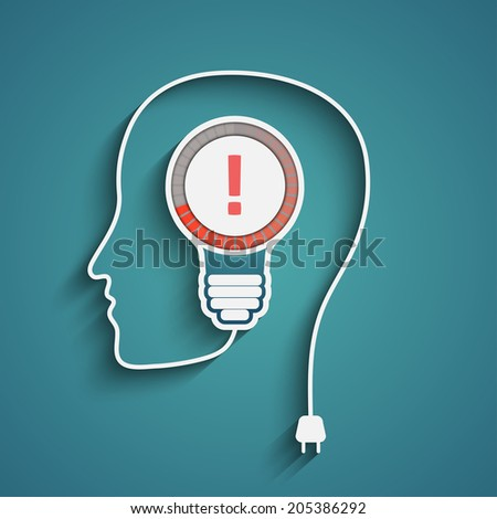 head with exclamation mark in bulb, eps10 vector - stock vector