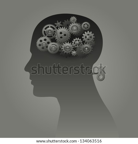 Head with gears and wind up mechanism, psychology concept, eps10 vector - stock vector