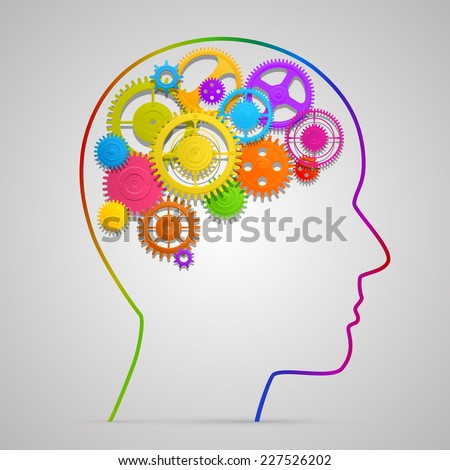 Head with gears in brain. Vector illustration - stock vector