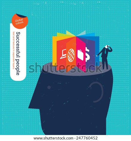 Head with icons. Vector illustration Eps10 file. Global colors. Text and Texture in separate layers. - stock vector