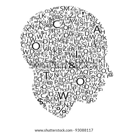 head with letters, vector - stock vector
