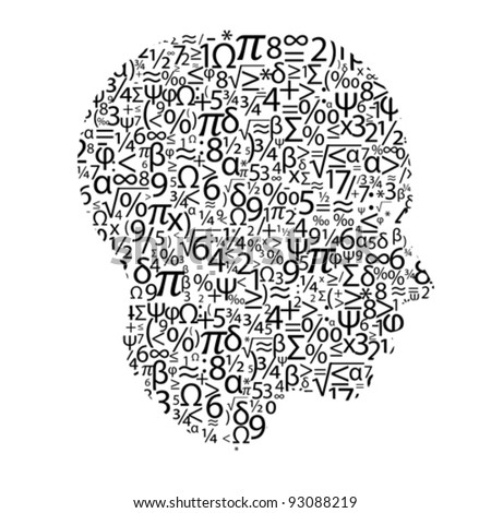 head with numbers, vector - stock vector