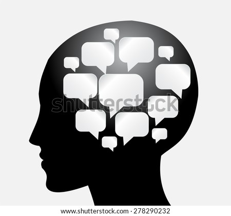 head with Speech Bubbles. brain idea concept. technology template for computer graphic website internet and business. circuit. text box set. Silhouette. Infographics. vector. think - stock vector