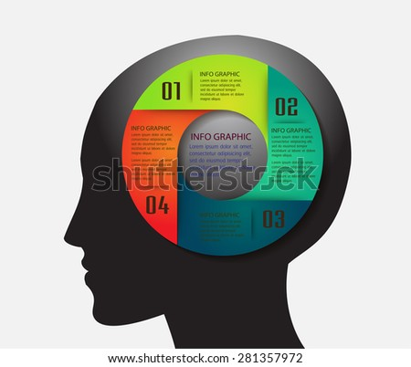 head with Speech Bubbles. brain idea concept. technology template for computer graphic website internet and business. circuit. text box set. Silhouette. Infographics. vector. think. cycle - stock vector