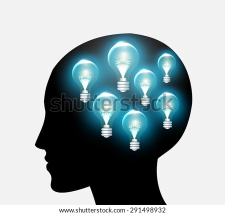 head with Speech Bubbles. brain idea concept. technology template for computer graphic website internet and business. circuit. text box set. Silhouette. Infographics. vector. think. blue lamp