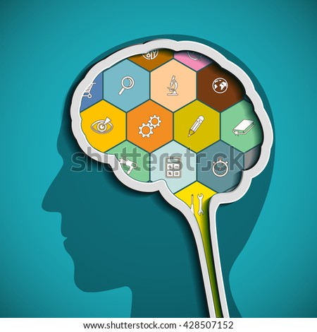 Head with the brain. The human mind. Stock vector illustration. - stock vector