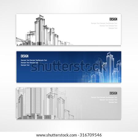 header set of three banner city designs business vector - stock vector