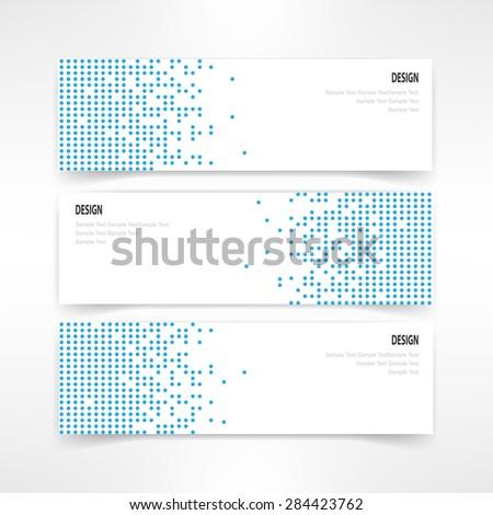 header set of three banner designs business vector - stock vector