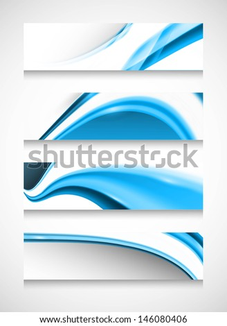 Headers four set stylish blue wave vector illustration - stock vector