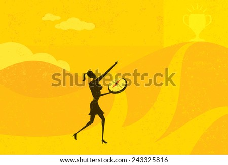 Heading in the Right Direction A businesswoman using a compass to help her find the right direction to get more money. The woman and background are on separate labeled layers. - stock vector