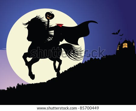 Headless Horseman The horseman rides under the full moon, with a full background and haunted house. EPS 8 vector, grouped for easy editing.