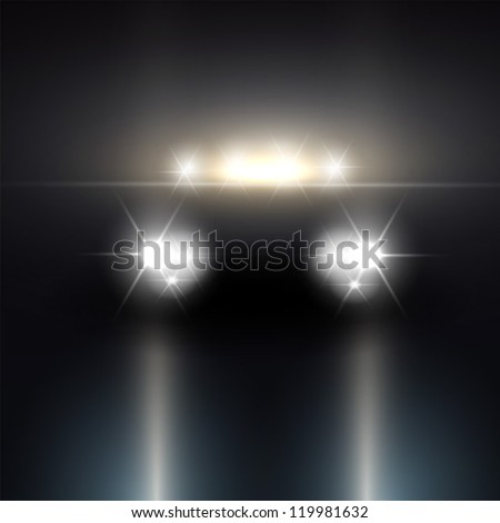 Headlights of car driving - stock vector