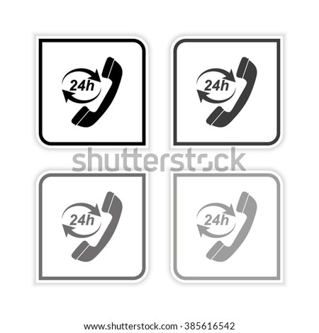 Headphone for support or service -  grayscale vector icon - stock vector