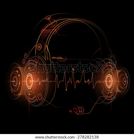 Headphone futuristic illustration