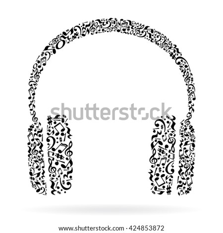 Headphone made of music notes. headphone on white. headphone vector. headphone eps. headphone icon. music in headphone. headphone illustration. headphone concept. headphone art. headphone artwork. - stock vector