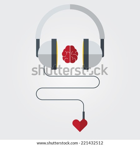Headphone with brain and heart in flat design. Vector. Illustration - stock vector