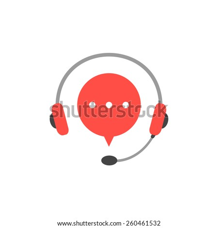 headphone with microphone and red speech bubble. concept of consultation, e-commerce, live marketing, all day hotline. isolated on white background. flat style modern logotype design illustration - stock vector