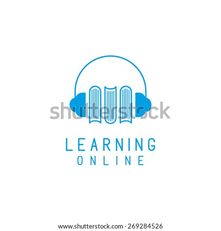 Headphones and books logo, online language learning, concept  network education - stock vector