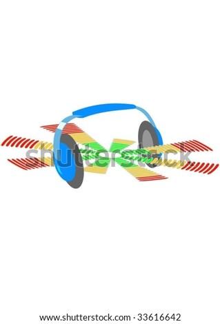 Headphones and equalizer.Isolated Abstract Background Vector Illustration