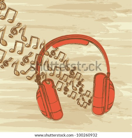 headphones and music notes, grunge music. vector illustration - stock vector