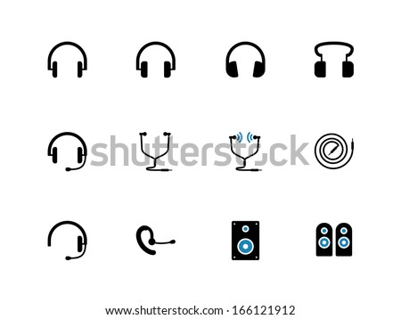 Headphones and speakers duotone icons. Vector illustration. - stock vector
