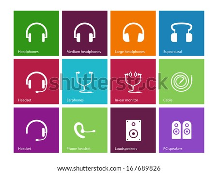 Headphones and speakers icons on color background. Vector illustration. - stock vector