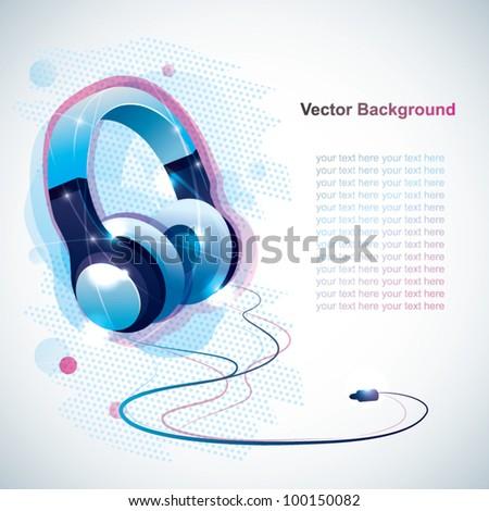 Headphones background - stock vector