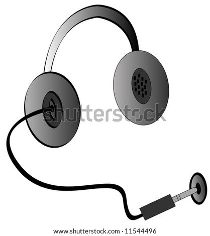 headphones being plugged into a jack for power - vector - stock vector