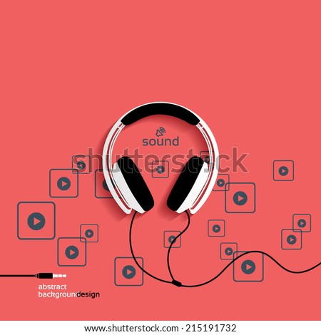 Headphones, flat icon isolated on a red background. Sound concept background design layout for poster flyer cover brochure - stock vector