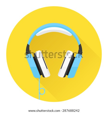 Headphones flat icon. Music and technology, sound and audio, vector illustration - stock vector