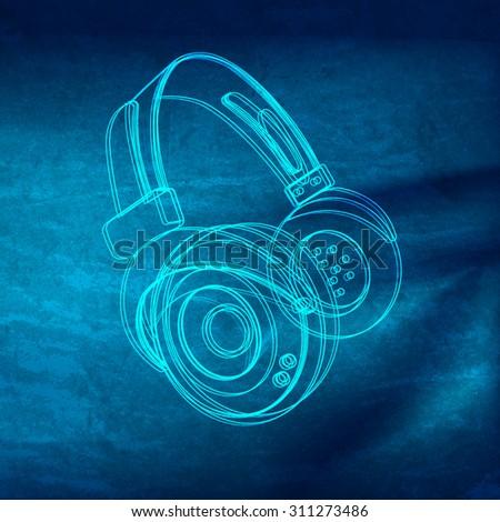 Headphones grunge music poster - stock vector