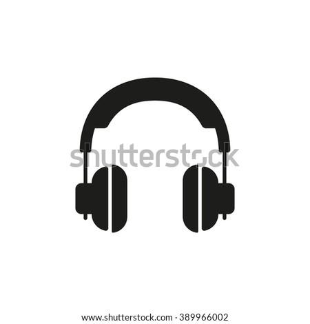 Headphones icon / Headphones flat icon / Black and white Headphones icon / Isolated Headphones icon / Headphones silhouette icon / Headphones icon vector / Headphones icon Image / Headphones icon JPG - stock vector