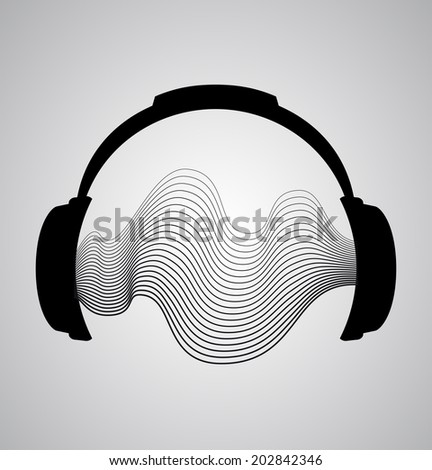 headphones icon with sound wave beats. Vector flat illustration - stock vector