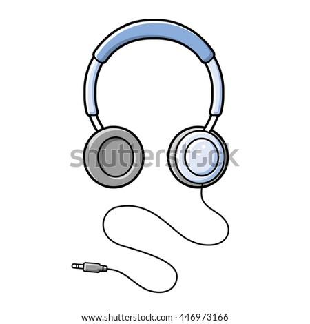 Headphones illustration isolated. - stock vector