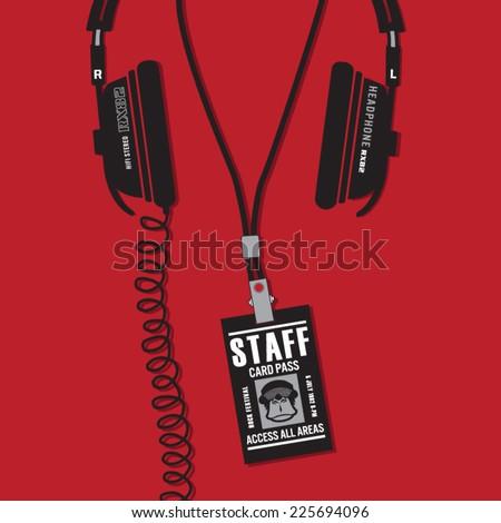 Headphones illustration, music typography, vectors, t-shirt graphics - stock vector