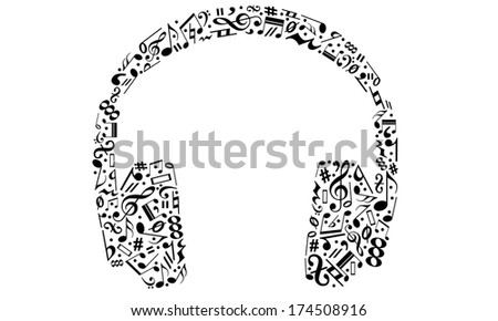 headphones made of musical notes - stock vector