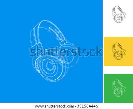Headphones music cover easy editable - stock vector
