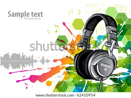 Headphones on a grunge background - stock vector