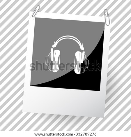 headphones. Photoframe. Vector icon. - stock vector
