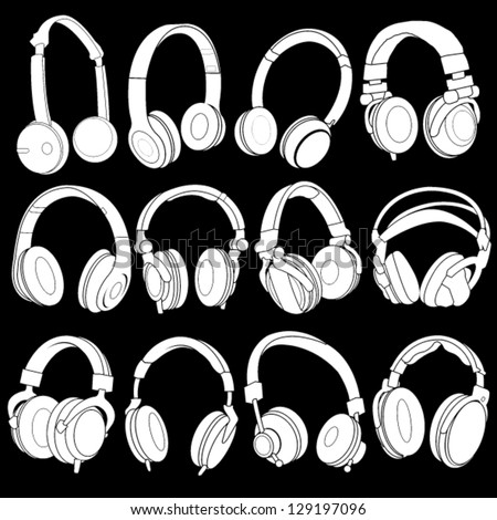 Headphones Silhouettes  Collection on black background - stock vector
