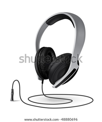 headphones whith a cord - stock vector
