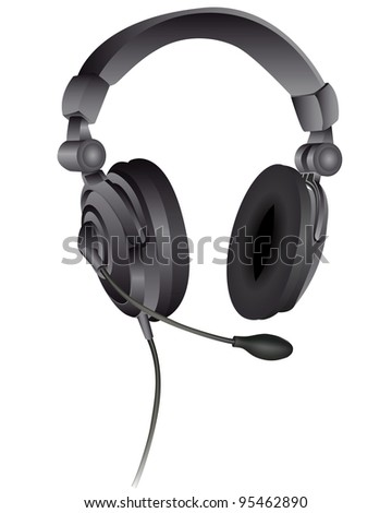 headphones with a microphone on a white background