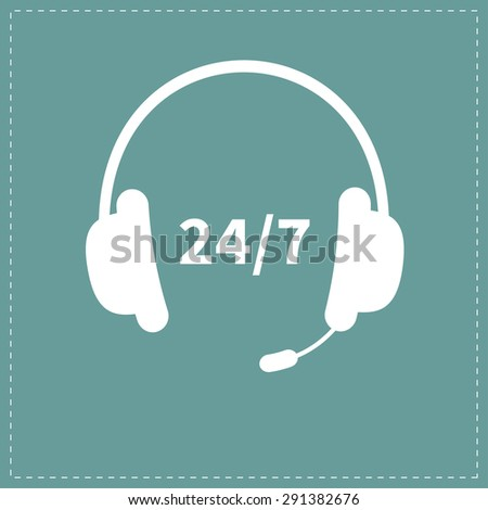 Headphones with microphone Non stop 24 7 customer service Support operator help icon Flat design Vector illustration - stock vector