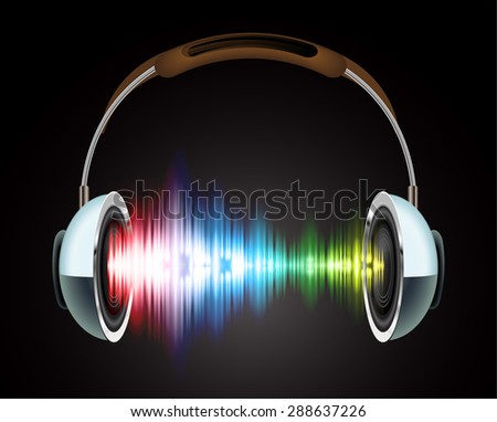 Headphones with red blue yellow sound waves. Illustration on black background. headset