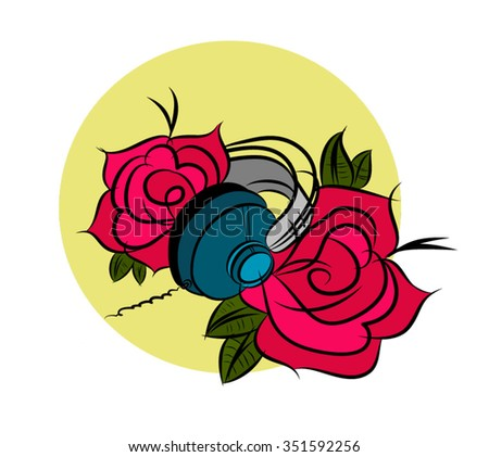Headphones with red roses vector illustration - stock vector
