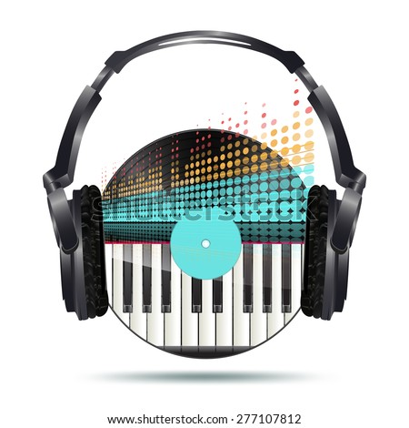 headphones with vinyl disk and equalizer - stock vector